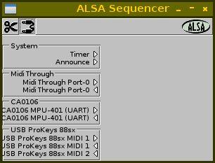 aconnectgui — графический диспетчер соединений секвенсора ALSA