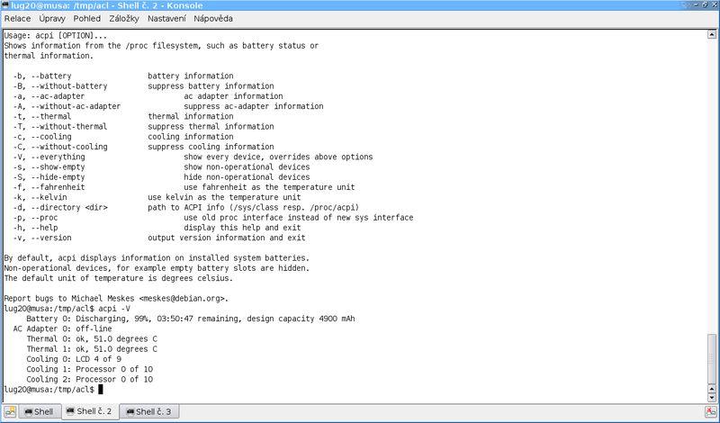 acpi — отображает информацию об устройствах ACPI