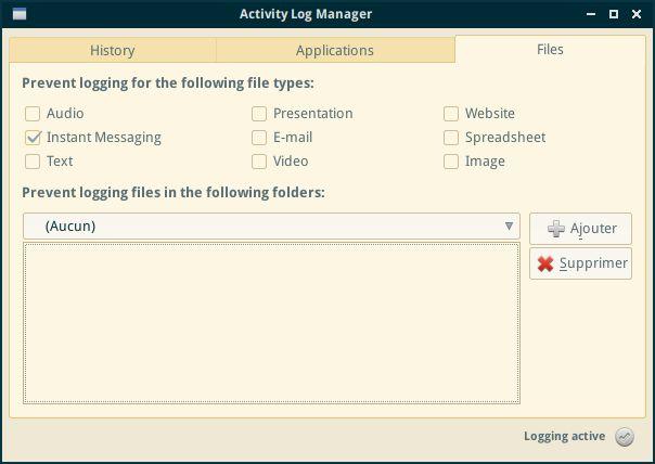 activity-log-manager — пользовательский интерфейс конфигурации черного списка для Zeitgeist