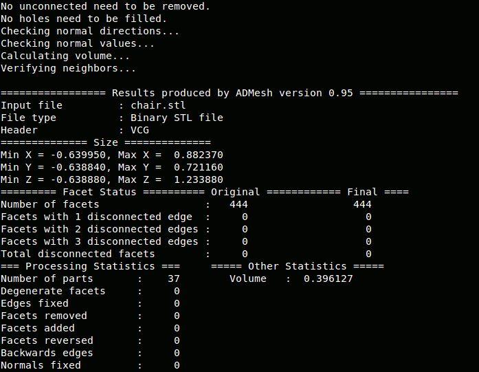 admesh — Инструмент для обработки триангулированных сплошных сеток. двоичный