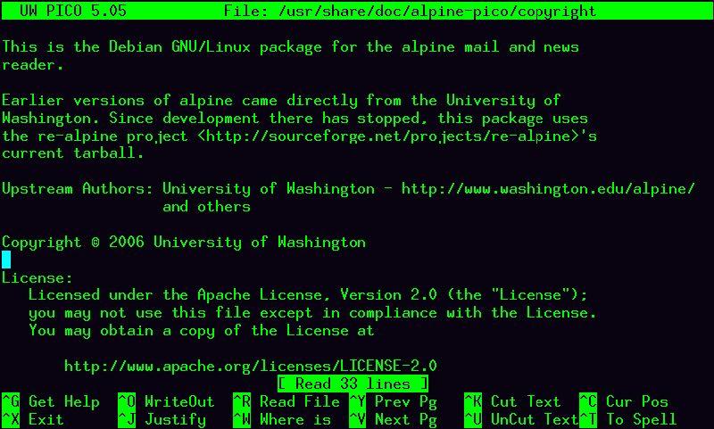 alpine-pico — Простой текстовый редактор от Alpine, текстовый почтовый клиент