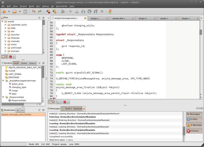 anjuta — Разработка среды разработки GNOME для C/C++