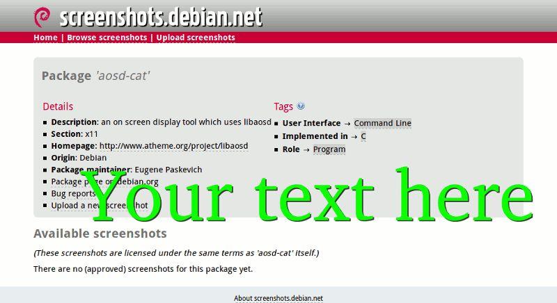 aosd-cat — инструмент отображения на экране, который использует libaosd