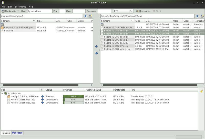bareftp — FTP-клиент для GNOME