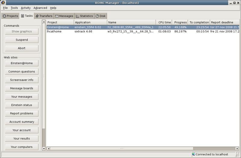 boinc-manager — GUI для управления и контроля основного клиента BOINC