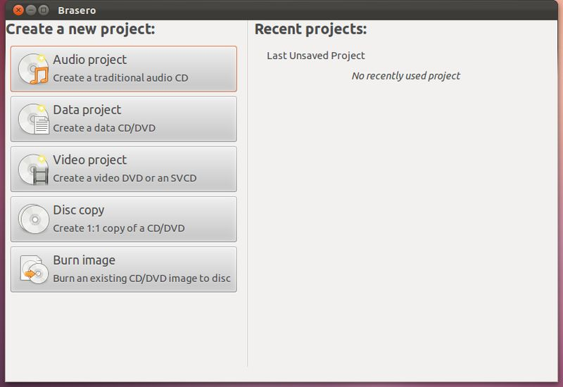 brasero — Приложение для записи CD / DVD для GNOME