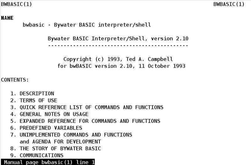 bwbasic — Bywater BASIC Interpreter