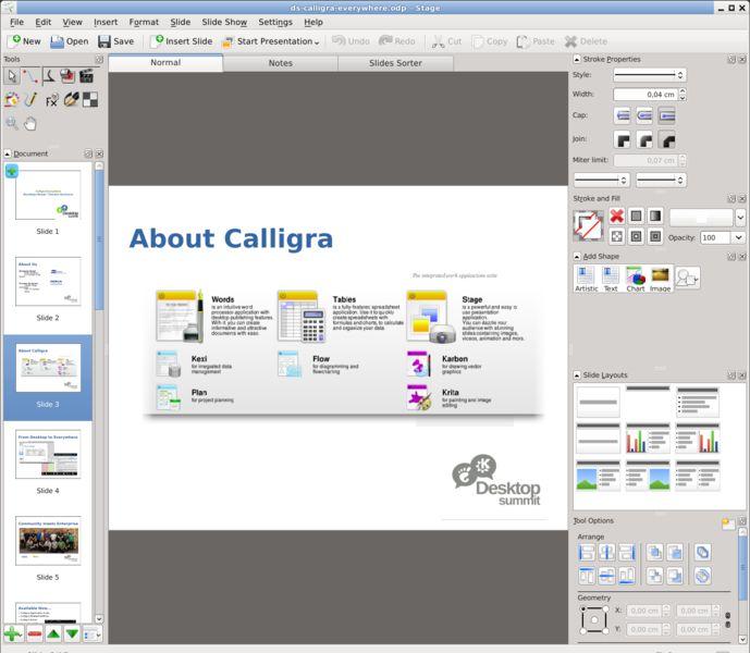 calligrastage — презентационная программа для Calligra Suite