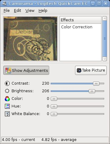camorama — утилита gnome для просмотра и сохранения изображений с веб-камеры