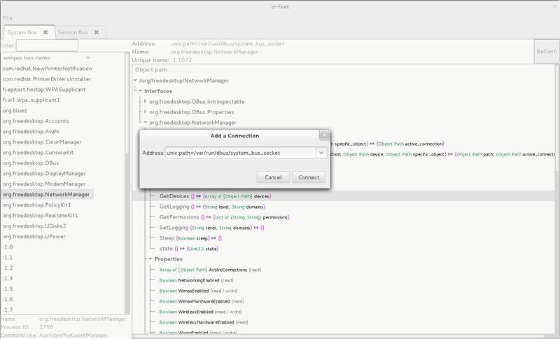 d-feet — Объектный браузер D-Bus, просмотрщик и отладчик