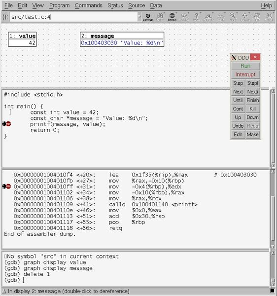 ddd — Отладчик отображения данных, графический интерфейс отладчика