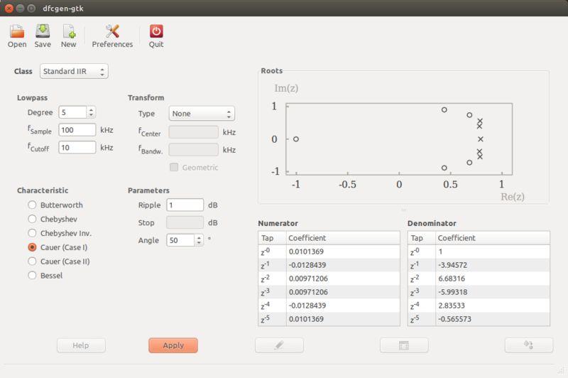 dfcgen-gtk — Коэффициенты коэффициентов цифрового фильтра (DFCGen) GTK+