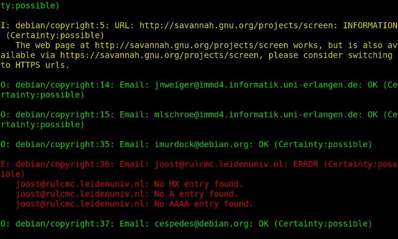 duck — проверяет URL-адреса в файлах debian/control и debian/upstream