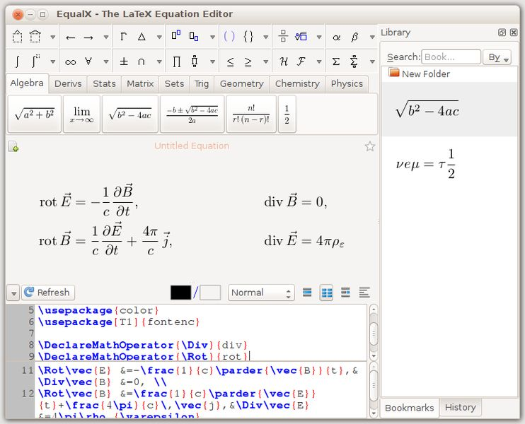 equalx — графический редактор для уравнений LaTeX