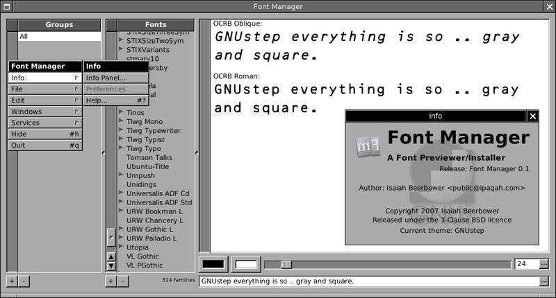 fontmanager.app — Менеджер шрифтов для GNUstep