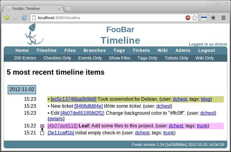 fossil — DSCM со встроенной wiki, http-интерфейсом и сервером, база данных билетов