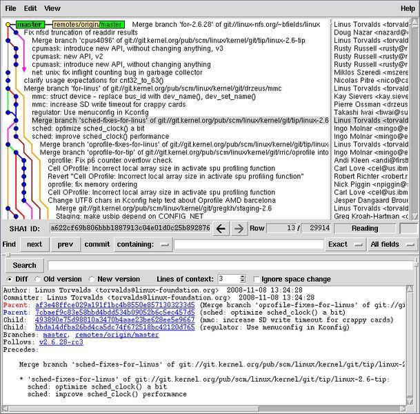 gitk — быстрая, масштабируемая, распределенная система контроля версий (визуализатор дерева ревизий)