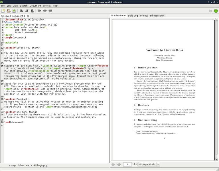 gummi — Редактор LaTeX на базе GTK+ с предварительным просмотром в реальном времени