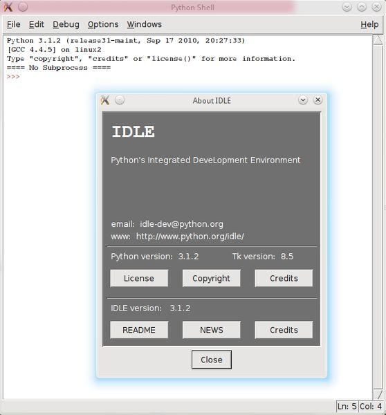 idle3 — IDE для Python с использованием Tkinter (версия по умолчанию)
