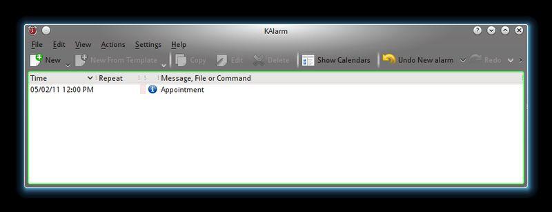 kalarm — аварийное сообщение, диспетчер команд и электронной почты