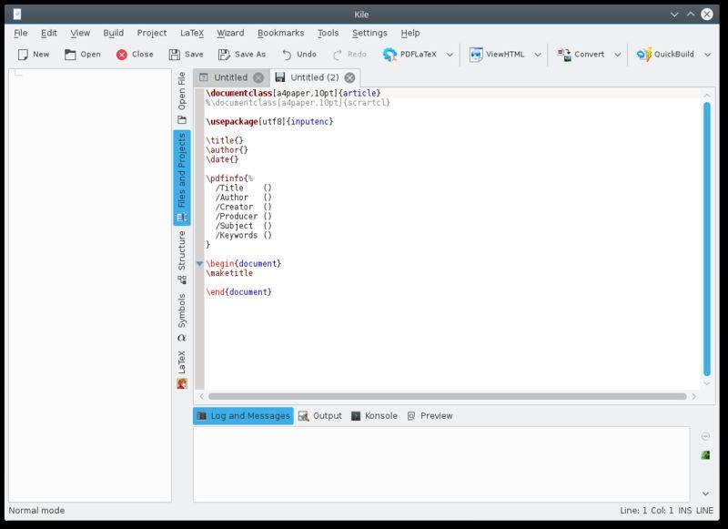 kile — Интегрированная среда LaTeX KDE