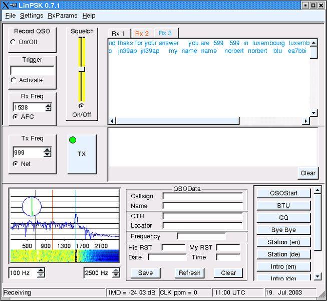 linpsk — программа для управления режимами PSK31/RTTY с X GUI