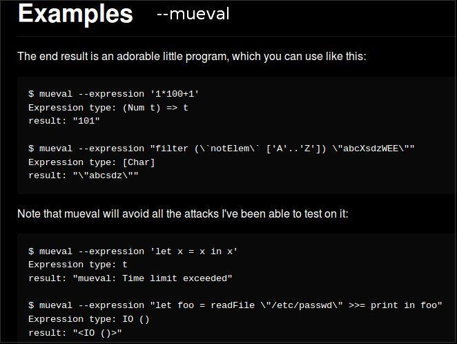 mueval — Безопасно оценивать чисто выражения Haskell - исполняемые файлы