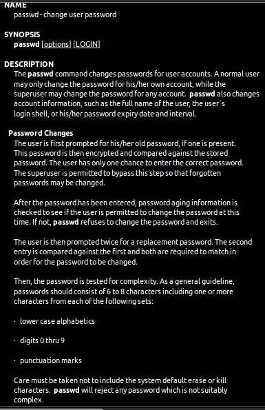 passwd — изменять и администрировать пароль и данные группы