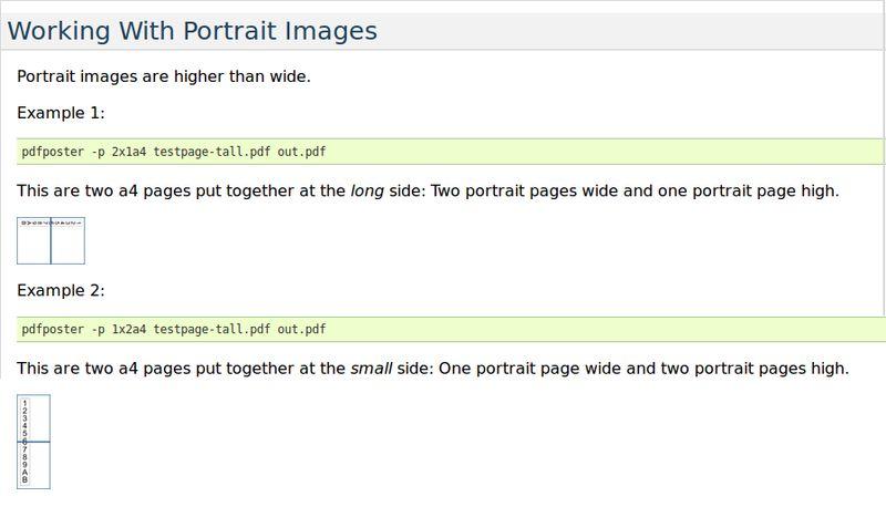 pdfposter — масштаб и фрагмент PDF-изображений / страниц для печати на нескольких страницах
