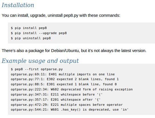 pep8 — Python PEP 8 для проверки стиля кода - переходный пакет