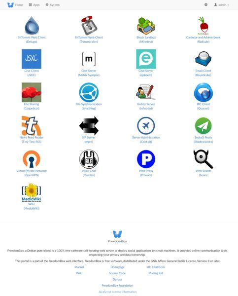 plinth — веб-интерфейс для администрирования каждого аспекта FreedomBox