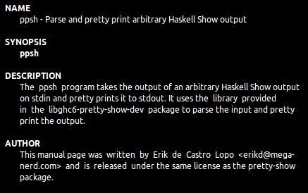 ppsh — Программа для синтаксического анализа и печати произвольного вывода Haskell Show
