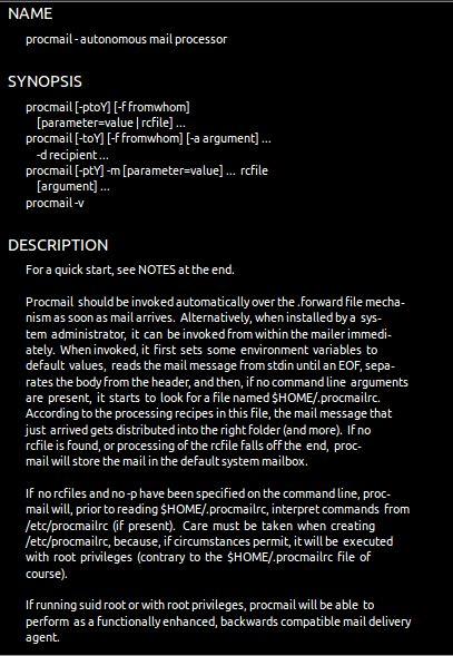 procmail — Универсальный почтовый процессор