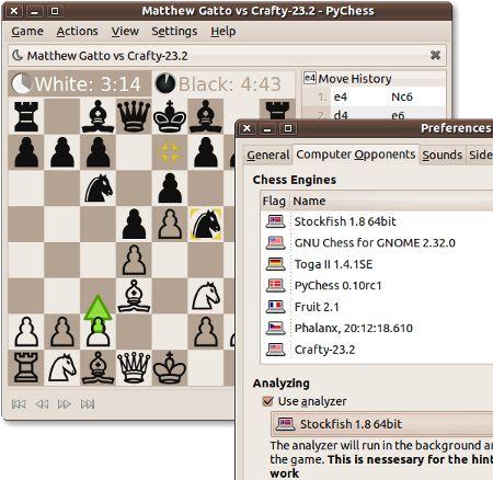pychess — Шахматный графический интерфейс для нескольких шахматных движков