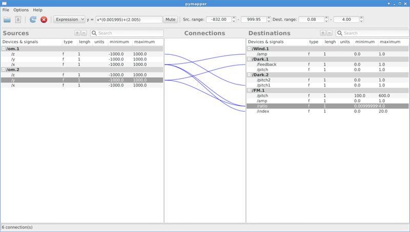 pymappergui — Графический пользовательский интерфейс для libmapper
