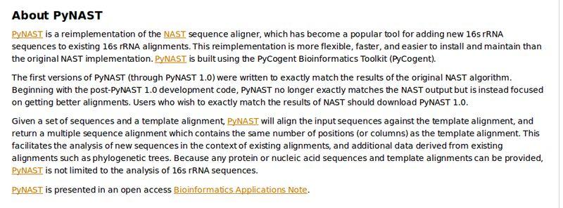 pynast — выравнивание коротких последовательностей ДНК