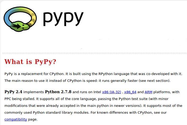 pypy — быстрая альтернативная реализация интерпретатора Python - PyPy