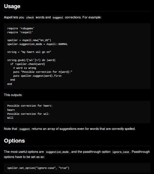 raspell — привязка интерфейса для проверки орфографии Aspell