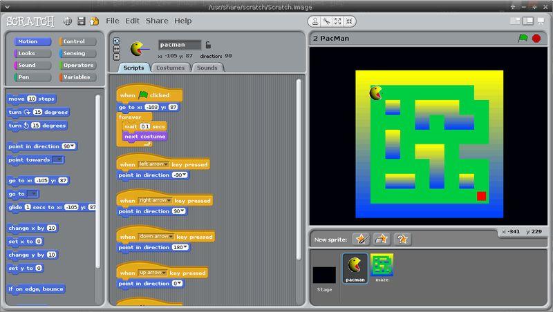 scratch — простая в использовании среда программирования в возрасте от 8 лет и старше