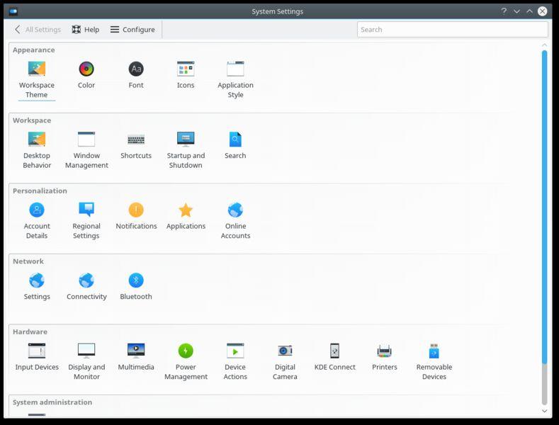 systemsettings — Интерфейс системных настроек