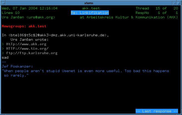 tin — Полноэкранный простой в использовании редактор новостей Usenet