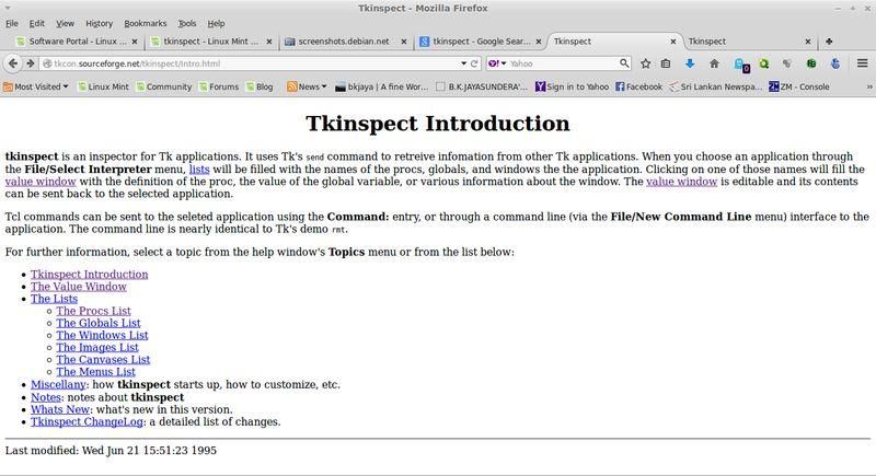 tkinspect — Инспектор приложений Tk для разработки в Tcl