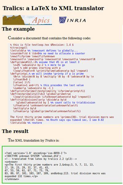 tralics — Переводчик LaTeX в XML