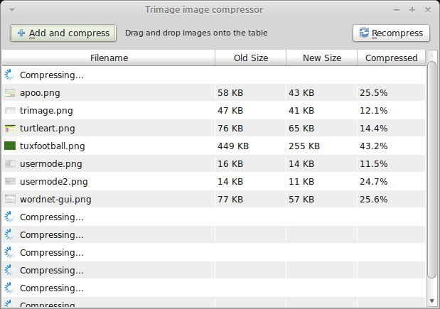 trimage — GUI и интерфейс командной строки для оптимизации файлов изображений
