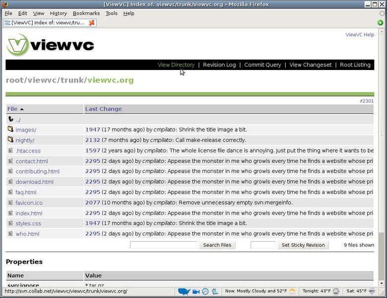 viewvc — веб-интерфейс для репозиториев CVS и / или Subversion