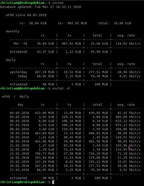 vnstat — консольный сетевой монитор трафика