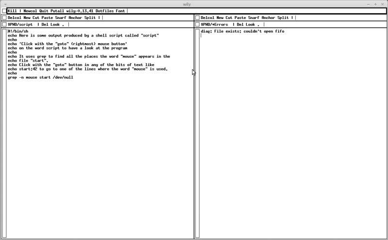 wily — Работа, подобная среде программирования Acme для плана 9