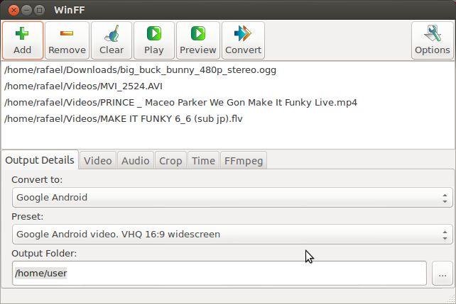 winff — графический видео и аудио пакетный конвертор с использованием ffmpeg или avconv