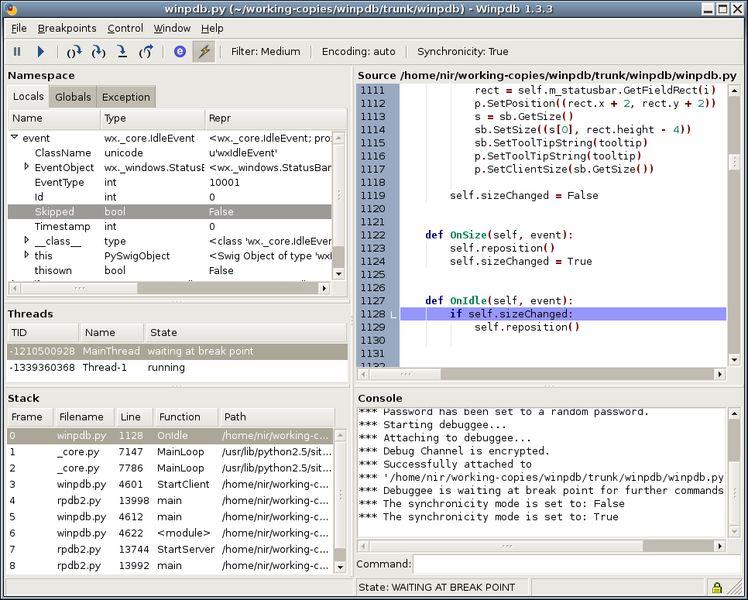 winpdb — Независимый от платформы Python отладчик