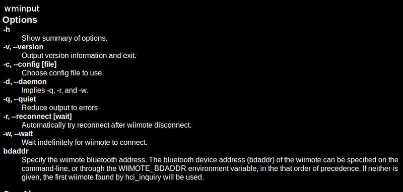 wminput — Пользовательский драйвер для wiimote